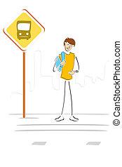 λεωφορείο , αναμονή , σταματώ , σπουδαστής