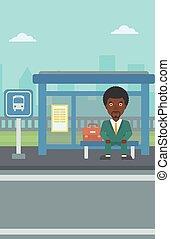 λεωφορείο , αναμονή , stop., άντραs