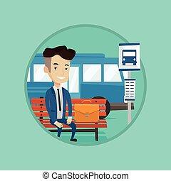 λεωφορείο , αναμονή , stop., επιχειρηματίας