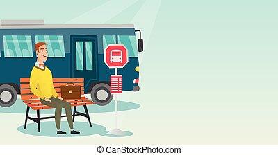 λεωφορείο , αναμονή , stop., καυκάσιος , άντραs