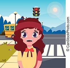 λεωφορείο , ιζβογις , δρόμοs , κορίτσι , τσάντα