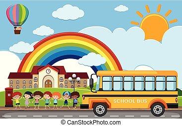 λεωφορείο , ιζβογις , σκηνή , δρόμοs , παιδιά