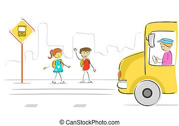 λεωφορείο , μικρόκοσμος , σταματώ