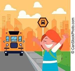 λεωφορείο , πόλη , σταματώ , δεσποινάριο μαθητής , φόντο