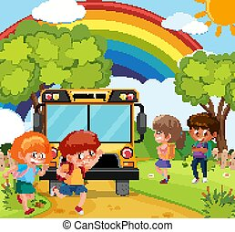 λεωφορείο , σκηνή , καβαλλικεύω αγέλη ιχθύων , πάρκο , μικρόκοσμος