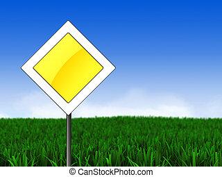 λιβάδι , και , κύριος δρόμος , σήμα