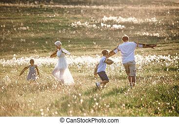λιβάδι , οικογένεια , nature., νέος , παίξιμο , κάτι ασήμαντο άπειρος