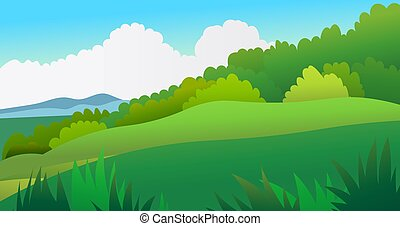λιβάδι , scene., τροπικός , ουρανόs , φόντο , τοπίο , μικροβιοφορέας , forest., σκηνή , φύση , illustration., λόφος , όμορφος