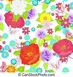 λιβάδι , seamless, πλοκή , σχεδιάζω , λουλούδια , δικό σου