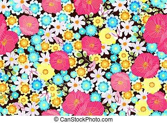 λιβάδι , seamless, πλοκή , σχεδιάζω , οριζόντιος , λουλούδια , δικό σου