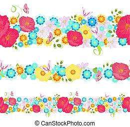 λιβάδι , seamless, συλλογή , σύνορα , λουλούδια , οριζόντιος