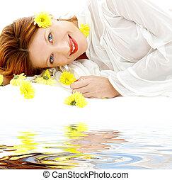 λουλούδια , άμμοs , άσπρο , κίτρινο , ομορφιά