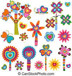 λουλούδια , αγάπη , retro