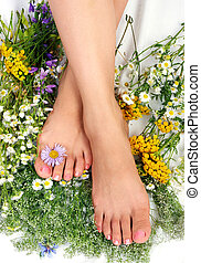 λουλούδια , γάμπα , γυναίκα