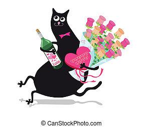 λουλούδια , γάτα
