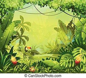 λουλούδια , οπωροφάγο πτηνό με μέγα ράμφο , ζούγκλα , llustration