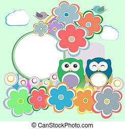 λουλούδια , φόντο , κουκουβάγια , πουλί