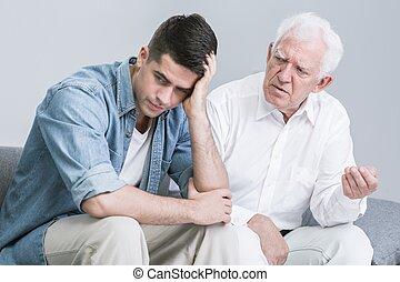 λόγια , ανησυχία , πατέραs , άντραs