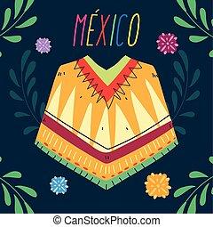 μάλλινη κάπα , χαρακτηριστικός , μεξικάνικος , επιγραφή , ρουχισμόs , μεξικό