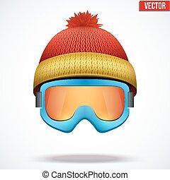 μάλλινος , σκούφοs , χιόνι , έπλεξα , goggles., κόκκινο