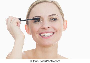 μάσκαρα , αυτήν , πορτραίτο , εφαρμοσμένος , γυναίκα άποψη , νέος