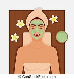 μάσκα , πράσινο , του προσώπου , ιαματική πηγή , κορίτσι , therapy.