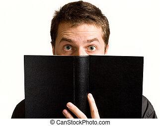 μάτια , βιβλίο , μαύρο , επάνω , έκπληκτος , άντραs