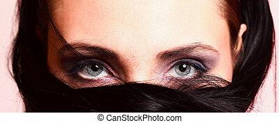 μάτι , γκρί , όμορφος , πορτραίτο , διαρρύθμιση