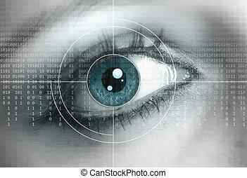 μάτι , γκρο πλαν , με , τεχνολογία , φόντο