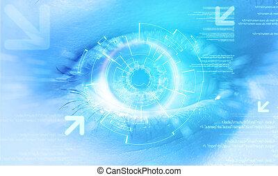 μάτι , μεταχειριζόμενος , φόντο , επεμβαίνω , τεχνολογία , ακαταλαβίστικος