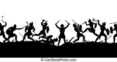 μάχη , αρχαίος , περίγραμμα , σκηνή