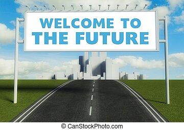 μέλλον , καλωσόρισμα , δρόμοs , δημοσιά αναχωρώ