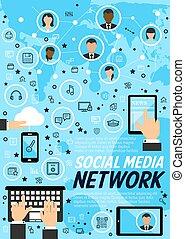 μέσα ενημέρωσης , γενική ιδέα , τεχνολογία , δίκτυο , κοινωνικός