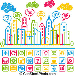 μέσα ενημέρωσης , κοινωνικός , πόλη