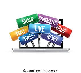 μέσα ενημέρωσης , laptop , αναχωρώ , εικόνα , κοινωνικός