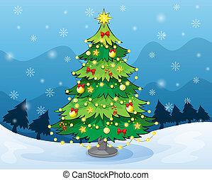 μέσο , γη , δέντρο , xριστούγεννα , χιονάτος