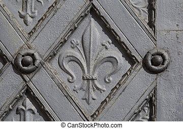μέταλλο , διακοσμητικός , πόρτα , με , σταυρός , και , fleur de απάνεμη πλευρά