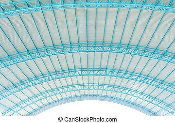 μέταλλο , οροφή , με , ατσάλι , δομή