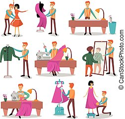 μέτρημα , μοδίστρα , πελάτες , σχεδιαστής , θέτω , ράψιμο , ραπτική , μικροβιοφορέας , διευκρίνιση , αρσενικό , δικός του , γελοιογραφία