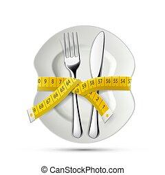 μέτρημα , πιάτο , τριγύρω , πηρούνι , ράφτης , ταινία , μαχαίρι