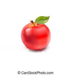 μήλο , απομονωμένος , αγαθός φόντο , κόκκινο