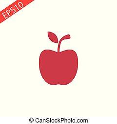μήλο , απομονωμένος , εικόνα , φόντο , αγαθός αριστερός