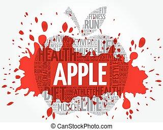 μήλο , λέξη , σύνεφο