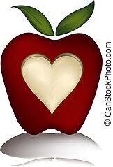 μήλο , με , γλύφω αγάπη