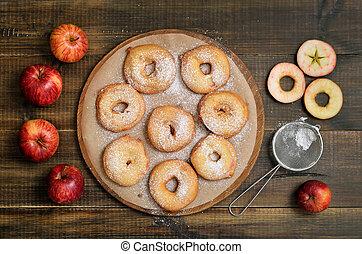 μήλο , ξύλινος , δακτυλίδι , μήλο , φρέσκος , τραπέζι