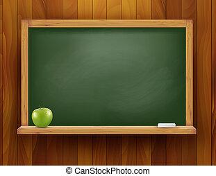 μήλο , ξύλινος , μαυροπίνακας , φόντο. , μικροβιοφορέας , πράσινο , illustration.