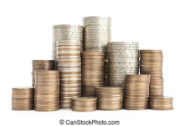 μίγμα , από , χρυσός , χαλκοκασσίτερος , και , ασημένια , κέρματα , ακουμπώ , κάθετα , μέσα , στήλες