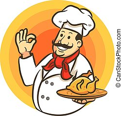 μαγείρεμα , σήμα , αρχιμάγειρας , υπέροχος , κοτόπουλο , τηγανητός