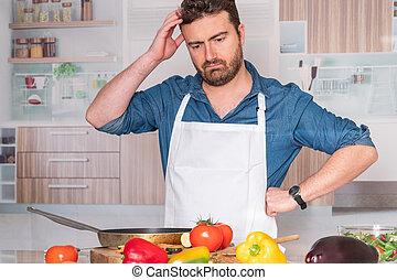 μαγείρεμα , στεναχωρήθηκα , γεύμα , σπίτι , άντραs , πριν