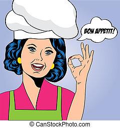 μαγειρεύω , γυναίκα , τέχνη , κρότος